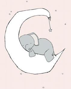 Elephant Nursery Art - Elephant Moon Dream - Pink And Gray