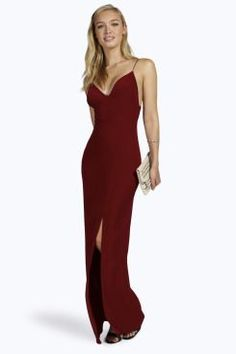 Rhia Plunge Slinky Maxi Dress at boohoo.com