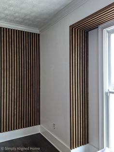 Wood Slat Wall, Wood Slats, Wall Treatments, Bedroom Wall, New Homes, House Design, Cabin Design, Interior Design, Bay Windows