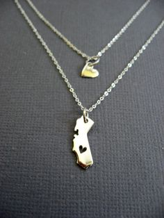 Tiny cut out Heart on California charm necklace cut out by Muse411, $68.00