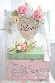 Dreamy Shabby Chic Cottage Pink Roses With Romantic Paris Books With Love And Angel Wings Print By Kathy Fornal
