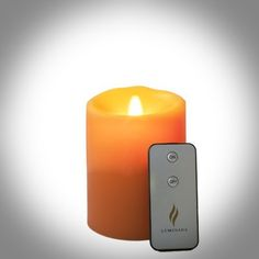 """Luminara 5"""" Battery Operated Flameless Pillar Vanilla Scented Candle in peach with Timer option and Remote Control by Luminara. $39.00. Believable beauty. Add the warm and welcoming glow of realistic candlelight to your home decor without any mess or worry--and all at a brilliant price. This battery operated wax pillar flameless candle uses the latest electromagnetic technology to create a random flicker and cast a true light that's incredibly similar to real flam..."""