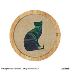 Sitting Green Textured Cat Cheese Board