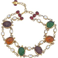 A SIgned 1985 Maison Gripoix for Chanel Gold Plated Chain and Pate de Verre Stones Chocker