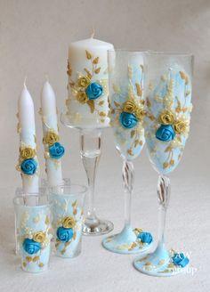 Wedding Set Aquamarine  Something Blue Mini Сhampagne Flutes Short glasses Unity candles Toasting Glasses Set of 7! by ArtWeddingGroup on Etsy