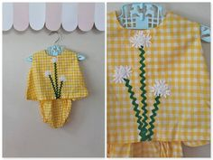 vintage 70s girl's 2pc outfit - DAISY GIRL gingham sunsuit / 2T on Etsy, $16.00