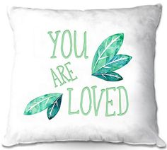 Throw Pillows Decorative Artistic | Zara Martina - You Are Loved Mint leaves | Love Leaves Inspiring Wedding