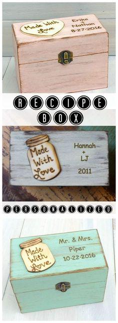 Adorable Personalized Wood Farmhouse Recipe Storage Box.  Amazing Bridal/Wedding Shower/New Home/Mother's Day Gift!  #Homedecor #Recipes #Affiliatelink