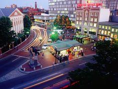 Harvard Square at night.