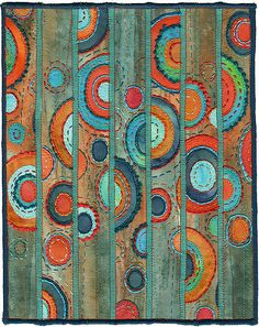 """Sliced ovals.  A new piece in the  """"Momentum"""" theme.  Contemporary abstract textiles.  8"""" x 10"""" 17"""" x 21"""" framed SOLD www.chursinoff.com/kirsten"""