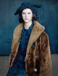 Brown and blue | Fluffy coat | S J Emberton