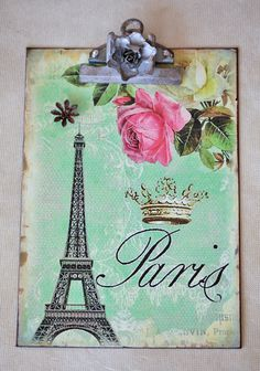 Cheri Eiffel Clip Board- I want this for my classroom! Vintage Home Offices, Modern Vintage Homes, Clipboard Art, Arts And Crafts, Paper Crafts, Cute Crafts, Diy Crafts, Paper Organization, Fabric Patterns