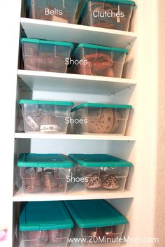 This is how I store all my shoes too - clear shoe boxes for organized shoe storage in a closet