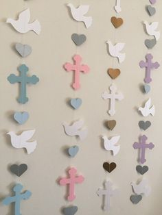 Christening Cross and Dove Garland - Baptism Backdrop decorations - First Holy Communion Garland - Baby Dedication Decor - Your Color choice First Communion Decorations, Baptism Decorations, Backdrop Decorations, Heart Decorations, Backdrops, Baby Baptism, Baptism Party, Diy And Crafts, Paper Crafts