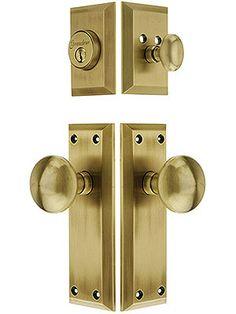 E-Z-Set Porcelain Door Knobs For Hall Closet Doors White w// Gold Hardware