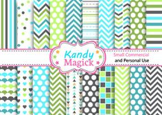 BUY 2 Get 1 FREE. 20 Digital Papers. Five Tone Patterns in Blue and Green 2 (3 no 6) for Personal Use and Small Commercial Use Scrapbooking