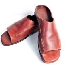 b1e164a8d9 COLE HAAN Womens Sandals 5.5 B Red Leather Flat Slides Mules Shoes #ColeHaan  #Slides #Casual