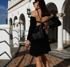 Backless knit dress. Click on image to shop the look #revolve #lbd #backless #streetstyle #lpa