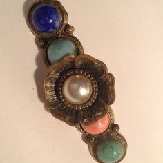 A Vintage Bar Pin With 5 Different Stones from bianca-biz on Ruby Lane