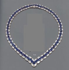 Lovely Blue Sapphire And cz Marquise Necklace In Silver