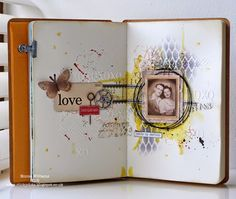 That's Life: Young Love journal pages ~ x,y,z Simon Says Stamp Monday Challenge featuring products by Tim Holtz and Ranger Ink