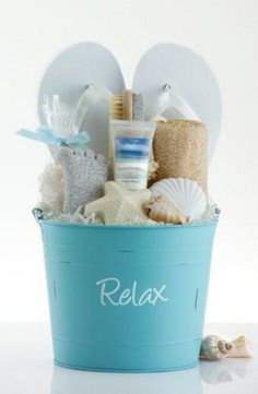 Create a Summery DIY Spa Gift Basket with FLIP FLOPS! Idea via Pleasant Surprises - Do it Yourself Gift Baskets Ideas for All Occasions - Perfect for Christmas - Birthday or anytime! ideas gifts Do it Yourself Gift Basket Ideas for Any and All Occasions Teen Gift Baskets, Birthday Gift Baskets, Raffle Baskets, Birthday Gifts, Diy Birthday, Birthday Ideas, 16th Birthday, Birthday Present Ideas For Women, Summer Gift Baskets