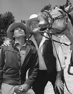 """Bonanza"" Dan Blocker, Michael Landon circa 1967"