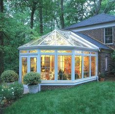 glass home additions | Glass room addition with brick knee wall - Sunrooms Photo Gallery ...