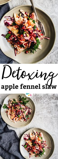 This crunchy Detox Apple Fennel Slaw will leave you feeling light and fresh! It's the perfect healthy vegan side dish for fall and winter. The dressing is easy and the salad ingredients are simple - but they're so special. Great for vegan and gluten free Thanksgiving or Christmas party guests, too! | #recipes #cleaneating #veganrecipes #healthyrecipes #healthyfood