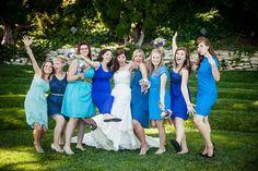 mismatched blue bridesmaid dresses - Google Search
