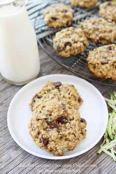 Zucchini Coconut Chocolate Chip Cookies on twopeasandtheirpod.com A must make!