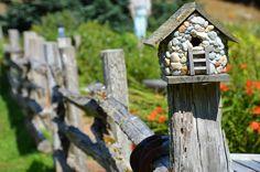 Nature Photography Rock Birdhouse on Garden Fence Greeting Card Wall Art Home Decor Print. $4.00, via Etsy.