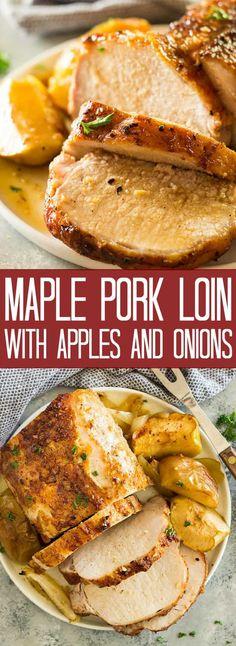 Maple Pork Loin with Apples and Onions Ahorn Schweinelende mit Äpfeln und Zwiebeln Pork Loin Recipes Oven, Baked Pork Loin, Pork Roast In Oven, Pork Loin Chops, Meat Recipes, Supper Recipes, Pork Tenderloin Dutch Oven, Pork Loin Marinade, Pork Meals