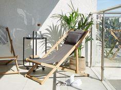 Wooden Folding Deck Chair Grey AVELLINO - Beliani.de Garden Cushions, Outdoor Cushions, Garden Furniture, Outdoor Furniture, Outdoor Decor, Reclining Sun Lounger, Beach Lounge Chair, Balcony Chairs, Grey Chair