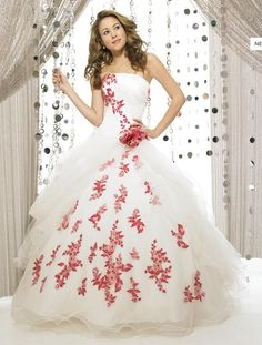 Ball Gown Appliqued Red Flower Organza Strapless White Quinceanera Dresses Prom Gowns