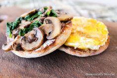 Breakfast Sandwich with mushrooms and spinach. I am going to try and make this in my breakfast sandwich maker.