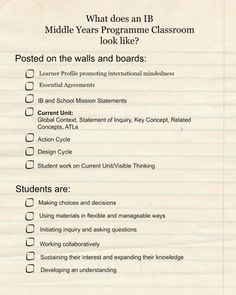 What does an MYP Classroom look like? from Living the Learner Profile like a Boss on TeachersNotebook.com -  (2 pages)  - A check off list for new MYP teachers to help at the beginning of the year and throughout the year to serve as a reminder.