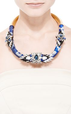 Mamba Crystal and Sequin Necklace in Blue by Shourouk - Moda Operandi