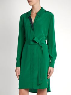Bi-colour silk shirtdress | Diane Von Furstenberg | MATCHESFASHION.COM
