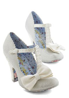 Frost That Lovin' Feelin' Heel by Irregular Choice - High, Faux Leather, Solid, Bows, Cutout, Scallops, Special Occasion, Prom, Wedding, Party, Holiday Party, Vintage Inspired, 20s, Best, T-Strap, Silver, White, Luxe, Fairytale, Darling, Glitter