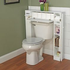 20 bathroom storage over toilet organization ideas. You have a small bathroom and you don't have idea how to design it? A small bathroom can look great and be fully functional as the large bathrooms. Over The Toilet Cabinet, Over Toilet, Small Toilet, Hidden Toilet, Small Bathroom Storage, Bathroom Organization, Organization Ideas, Toilet Storage, Small Bathrooms