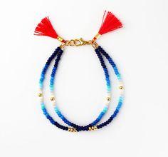 Beaded Bracelet Friendship Bracelet Seed Bead Bracelet Tassel Bracelet BFF Gifts Blue Bracelet