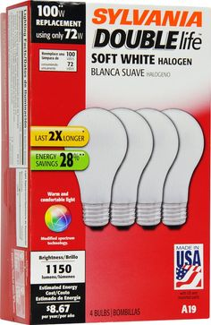 SYLVANIA Halogen Lamp Double life / Dimmable Light Bulb A19 / Energy-saving replacement for 100W Incandescent / Medium base E26 / 72 Watt / 2800K - soft white, 4 Pack - Halogen Bulbs - Amazon.com