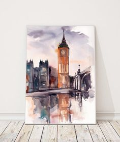Big Ben London Painting ORIGINAL Watercolor Painting By CanotStop