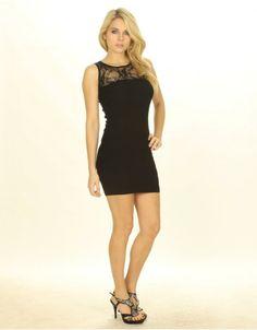 Lace Detail Black Body Con Dress - ChiaraFashion