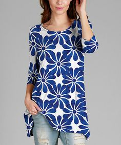 Another great find on #zulily! Blue & White Star Three-Quarter Sleeve Tunic - Plus #zulilyfinds