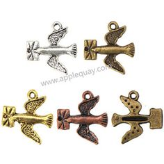 Zinc Alloy Animal Charms,Bird,Plated,Cadmium And Lead Free,Various Color For Choice,Approx 18.5*16.5*2.5mm,Hole:Approx 1.5mm&1.4mm,Sold By Bags,No002569