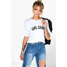 Boohoo Flora Girl Gang Oversized T-Shirt ($14) ❤ liked on Polyvore featuring tops, t-shirts, white, ribbed tee, white crew neck t shirt, long sleeve layering tee, white long sleeve t shirt and white t shirt