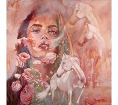 Transparent Dreams features a portrait of a young woman and several regal white horses. by  Dimitra Milan