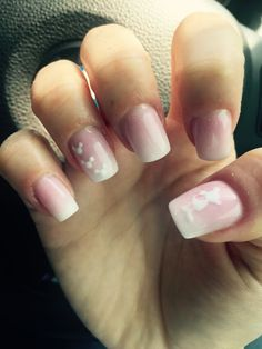 Minnie Mouse inspired pink and white ombré nails
